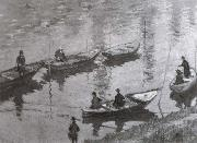 Anglers along the Seine near Poissy