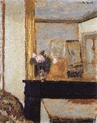 Blomvas on the mantelpiece