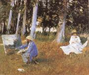 Claude Monet Painting at the Edge of a wood
