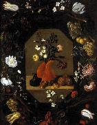 Juan de  Espinosa Still-Life with Flowers with a Garland of Fruit and Flowers oil painting artist