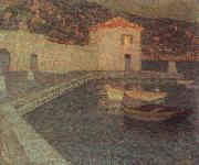 Le Sidaner Henri House by the sea at Dusk oil painting