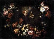 Garland of Flowers with St Anthony of Padua