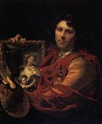 Adriaen van der werff Self-Portrait with a Portrait of his Wife,Margaretha van Rees,and their Daughter,Maria oil painting reproduction