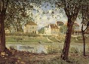Alfred Sisley Village on the Banks of the Seine oil painting reproduction