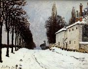Alfred Sisley Snow on the Road,Louveciennes oil painting reproduction