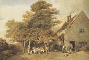Edmund Dorrell Figures outside a roadside inn (mk47) oil painting
