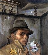 Felix Nussbaum Self-Portrait wiht jewish Identity Card oil painting