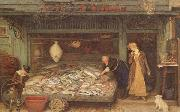 Frederick Walker,ARA,RWS A Fishmonger's shop (mk46) oil painting picture wholesale