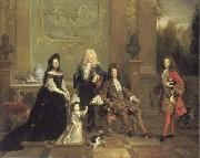 French school Louis XIV and his Heirs oil painting
