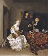 Gerhard ter Borch A Woman playing a Theorbo to two Men oil painting