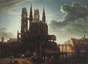 Karl friedrich schinkel Gothic Cathedral by the Waterside (mk45) oil painting