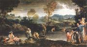 landscape with fishing scene