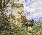 Farmhouse in front of women and sheep