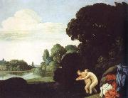 Carlo Saraceni landscape with salmacis and hermaphroditus oil painting