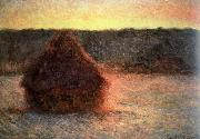 hay stack at sunset,frosty weather