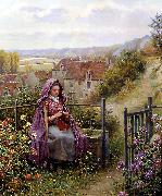 Daniel Ridgeway Knight In the Garden oil painting reproduction