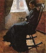 Aunt sitting  in the rocking chair