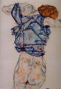 Egon Schiele kvinna under avkladning oil painting reproduction