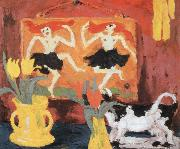 Emil Nolde still life with dancers oil painting