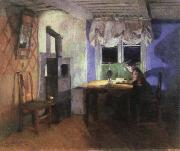 Harriet Backer by lamplight oil painting