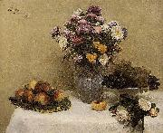 White Roses, Chrysanthemums in a Vase, Peaches and Grapes on a Table with a White Tablecloth