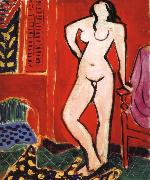 Nude in front of a red background