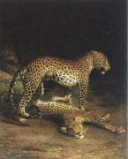 Jacques-Laurent Agasse two leopards playing oil painting