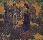 Yellow background, three women