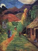 Paul Gauguin Tahiti streets oil painting reproduction