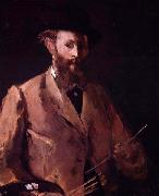 Edouard Manet Self portrait with palette oil painting reproduction