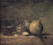 Sheng three pears walnut wine glass and a knife