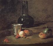 Wine glass bottles fitted five silver Cherry wine a two peach apricot, and a green apple