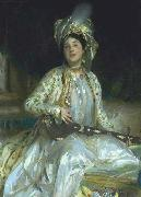 Sargent emphasized Almina Wertheimer exotic beauty in 1908 by dressing her en turquerie