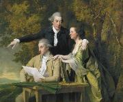 Joseph wright of derby D Ewes Coke his wife, Hannah, and his cousin Daniel Coke, by Wright, oil painting reproduction