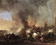 Cavalry Battle in front of a Burning Mill by Philip Wouwerman