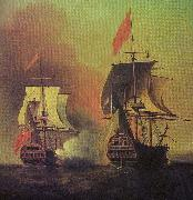 Capture of the Spanish Galleon Nuestra Senora de Cavagonda by the British ship Centurion during the Anson Expedition