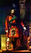 Sir David Wilkie flattering portrait of the kilted King George IV for the Visit of King George IV to Scotland, with lighting chosen to tone down the b