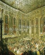 a concert given by the young mozart in the redoutensaal of the schonbrunn palace in vienna