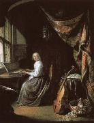 a 17th century dutch painting by gerrit dou of woman at the clvichord.