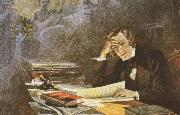 a romantic lithograph of schumann composing his song dichtrliebe
