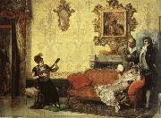Jacob Maentel Women take part in the Spanish guitar her a small audience at home. oil painting