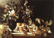 unknow artist A Table Laden with Flowers and Fruit oil painting reproduction