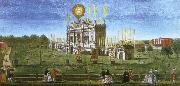 a contemporary artist s view of the structure erected in  green park for the 1749 firework display celebrating the peace of aix la chapelle.