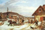 Cornelius Krieghoff The Toll Gate, oil painting artist