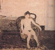 In the armchair naked female