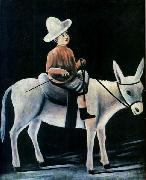 A Little Boy Riding a Donkey