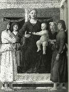 madonna and chold enthroned between four angels