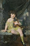 Douglas Volk Young Girl in Yellow Dress Holding her Doll, oil painting