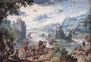 Hans Bol Landscape with the Fall of Icarus oil painting reproduction