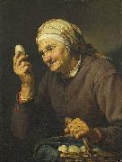 Hendrick Bloemaert Old woman selling eggs oil painting on canvas